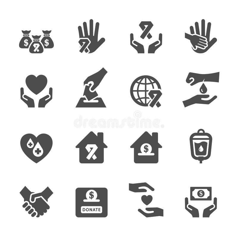 Dobroczynności i darowizny ikona ustawia 6, wektor eps10 royalty ilustracja