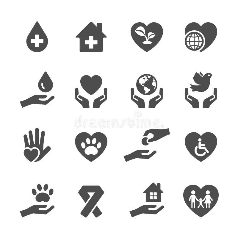 Dobroczynności i darowizny ikona ustawia 3, wektor eps10 royalty ilustracja