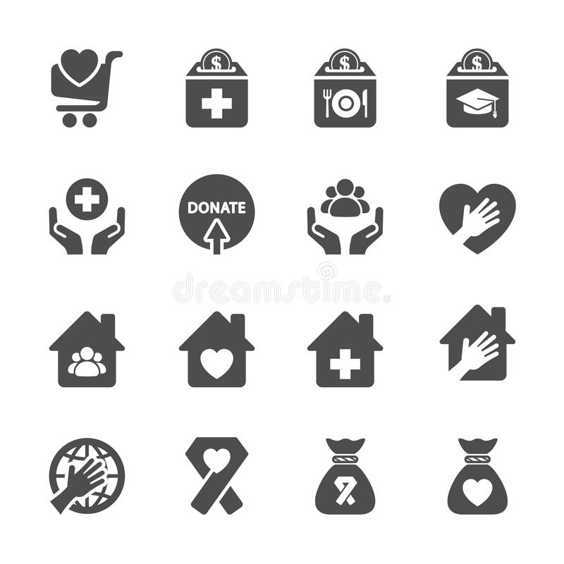 Dobroczynności i darowizny ikona ustawia 9, wektor eps10 ilustracji