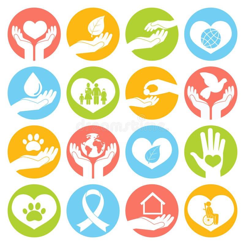 Dobroczynności i darowizny ikony białe ilustracja wektor