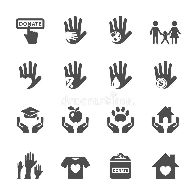 Dobroczynności i darowizny ikony set, wektor eps10 ilustracja wektor