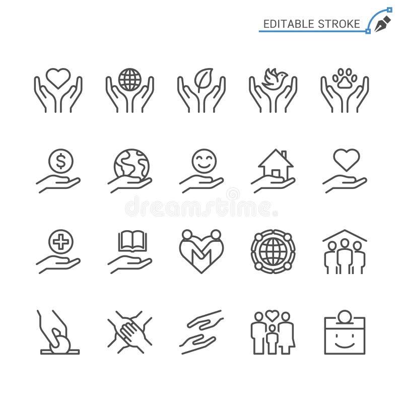 Dobroczynności i darowizny konturu ikony set royalty ilustracja