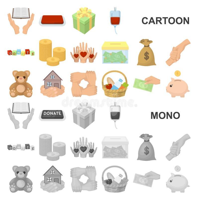 Dobroczynności i darowizny kreskówki ikony w ustalonej kolekci dla projekta Materialnej pomocy symbolu zapasu sieci wektorowa ilu royalty ilustracja