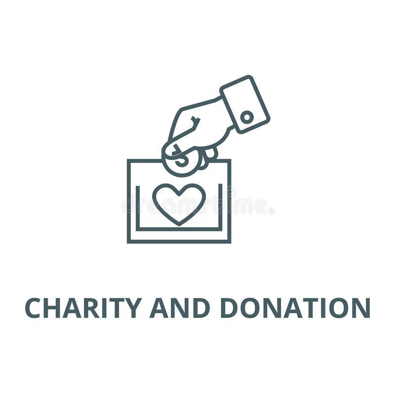 Dobroczynności i darowizny kreskowa ikona, wektor Dobroczynności i darowizny konturu znak, pojęcie symbol, ilustracja ilustracja wektor