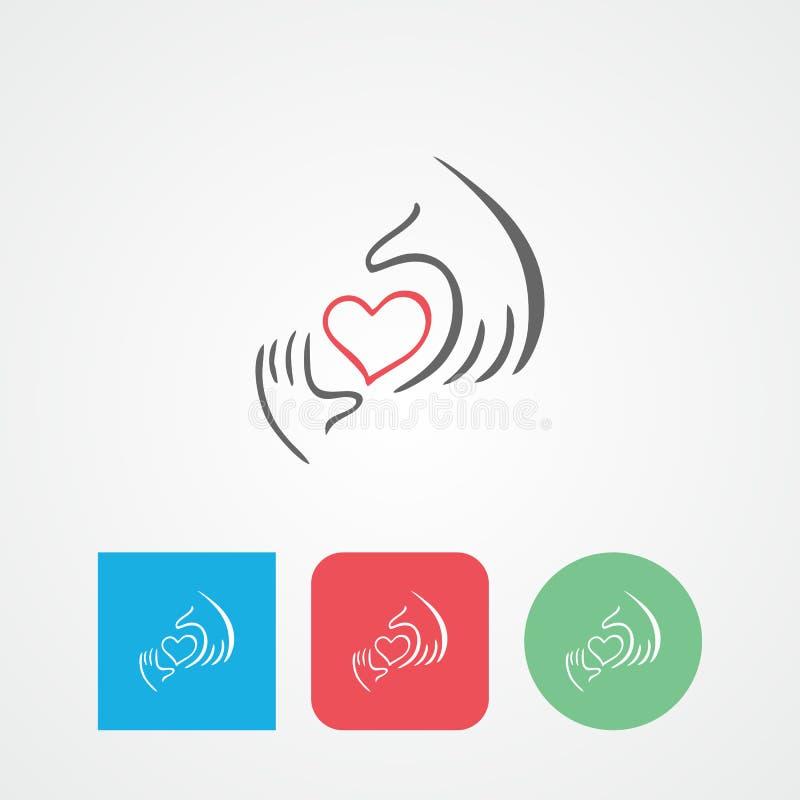 Dobroczynności ikona, zdrowie, dobrowolny, dba ręka loga ilustracji