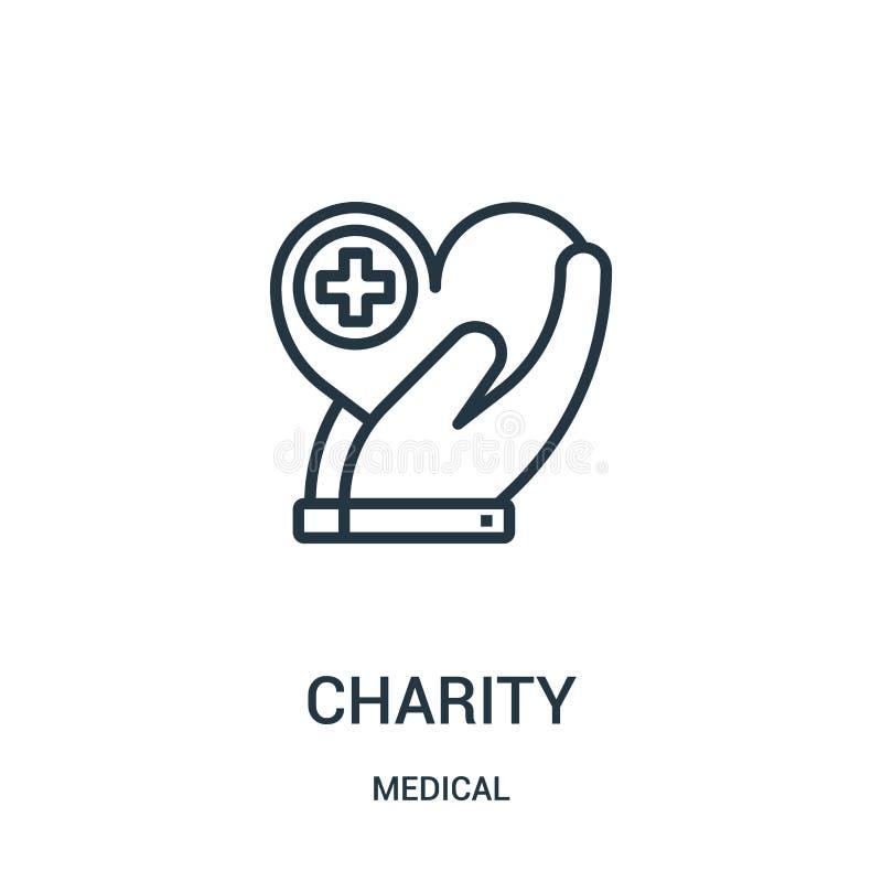 dobroczynności ikony wektor od medycznej kolekcji Cienka kreskowa dobroczynność konturu ikony wektoru ilustracja Liniowy symbol d ilustracja wektor