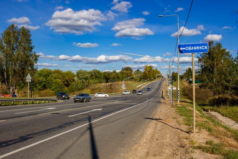 "Dobroe, Ρωσία - το Σεπτέμβριο του 2018: Εθνική οδός ""A130 ""Varshavka κοντά στο χωριό Dobroe στοκ εικόνες"