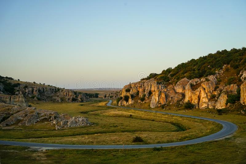 Dobrogea gorges, Romania. Dobrogea gorges landscape at sunset stock photos