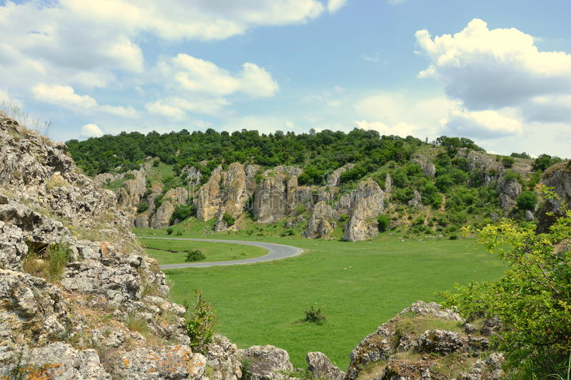 Dobrogea Gorges. Mountain landscape with unique bizarre limestone rock formation, some of the oldest in Europe, dating back to Mesozoic period, in Dobrogea royalty free stock photos