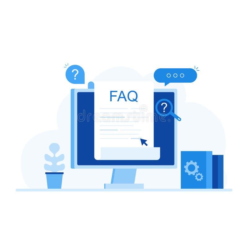 Dobrowolnie pytać pytania FAQ sztandar Komputer z pytanie ikonami, rewizj odpowiedzi Nowożytna mieszkanie stylu wektoru ilustracj ilustracja wektor