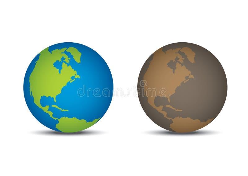 Dobry świat i Zły świat ilustracja wektor