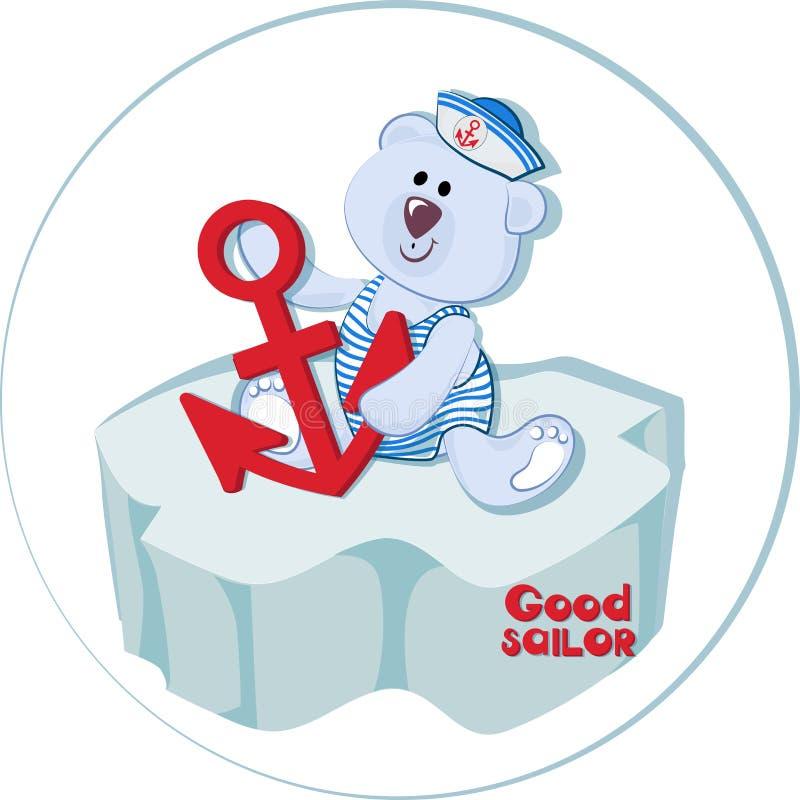 Dobry żeglarz Niedźwiedzia polarnego lisiątko z kotwicą na lodowym floe ilustracji