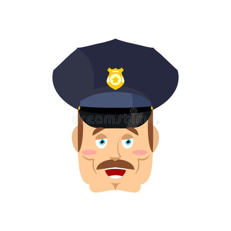 Dobry życzliwy policjant Szczęśliwy policjant Śmieszny twarz konstabl wesoło ilustracja wektor