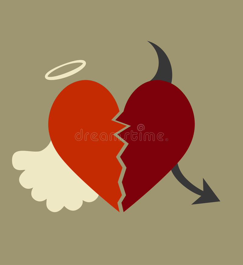Dobry i zły serce ilustracja wektor