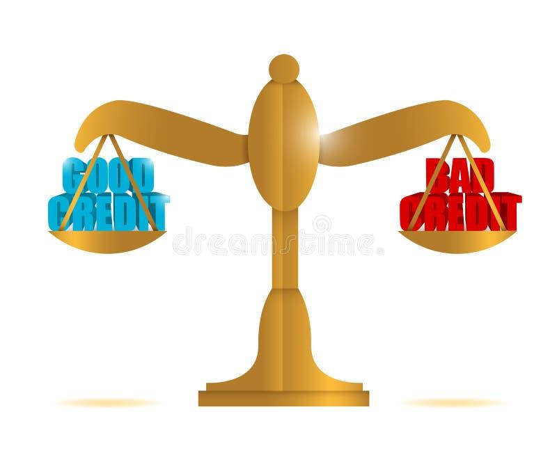 Dobry kredyt vs zła kredytowej równowagi ilustracja royalty ilustracja