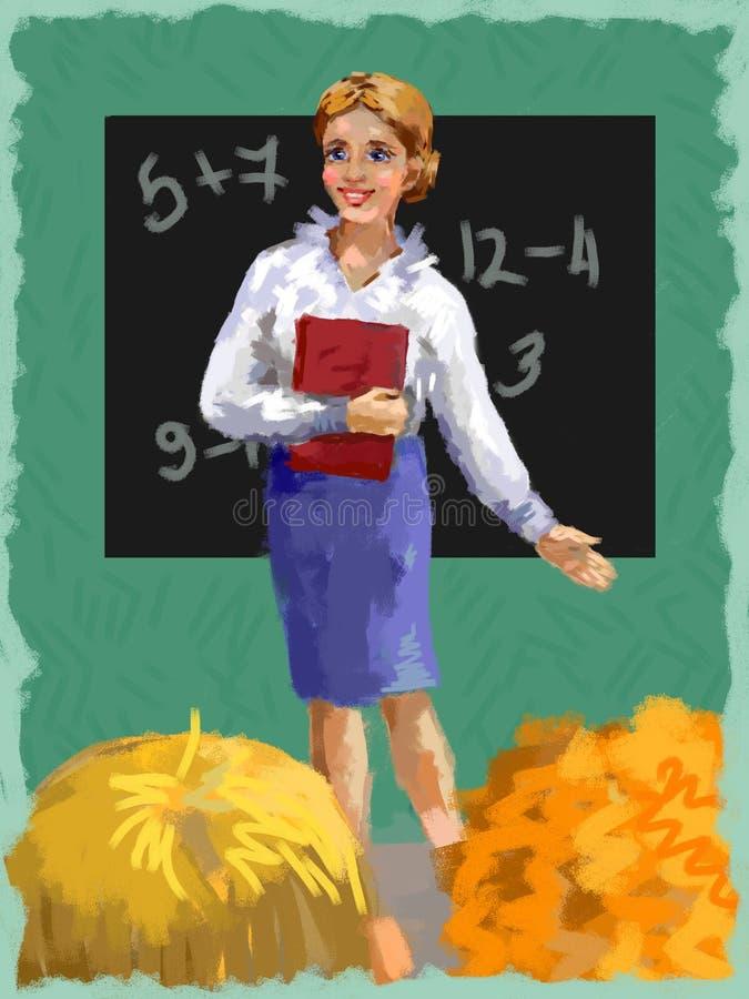 Dobry nauczyciel z uczniami w sala lekcyjnej przy blackboard z podręcznikami fotografia stock