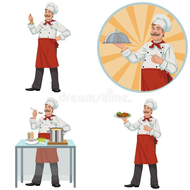 Dobry uśmiechnięty szef kuchni Set cztery ilustraci royalty ilustracja