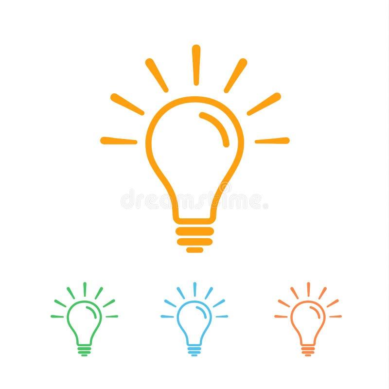 Dobrzy pomysły barwiąca kreskowa ikona ilustracja wektor