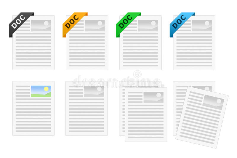doc dokumentu ikony set