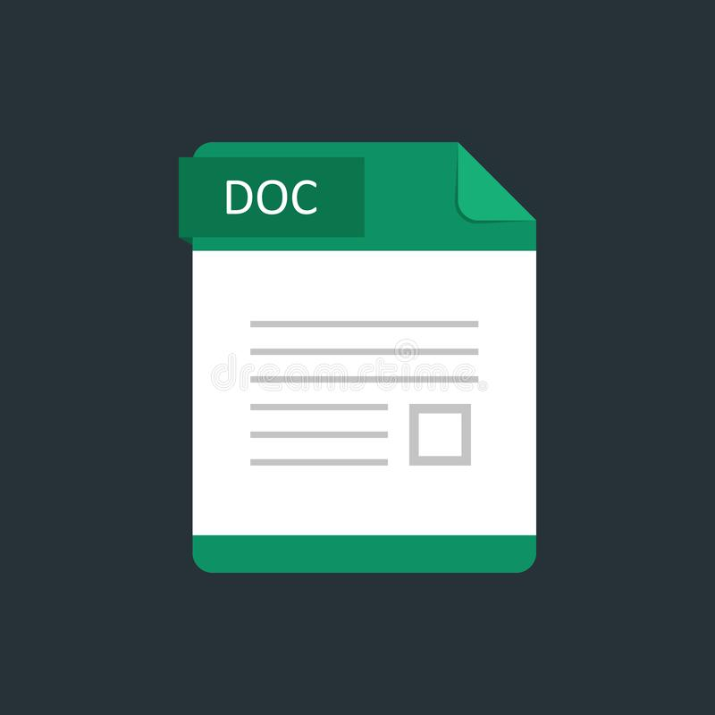 DOC file type icon. Vector illustration isolated on a dark blue background.  stock illustration