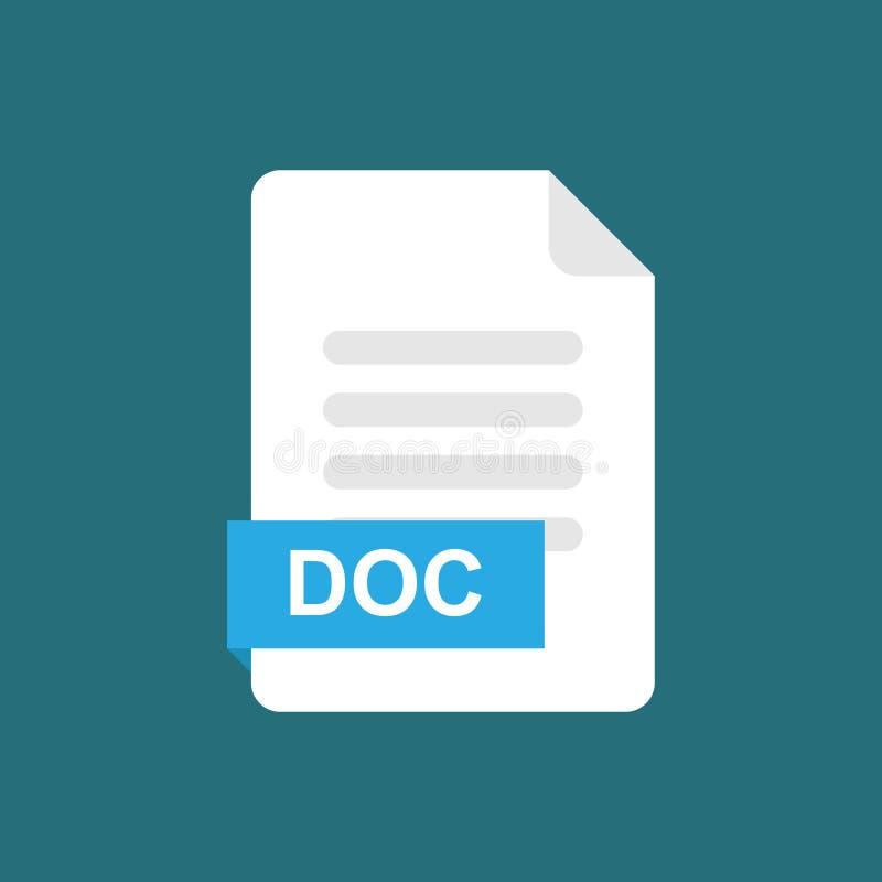 Doc.-het pictogramsymbool van het formaatdossier stock illustratie
