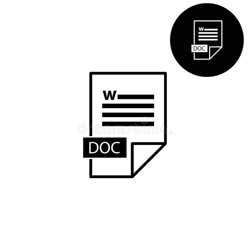 Doc ikona - biała wektorowa ikona royalty ilustracja