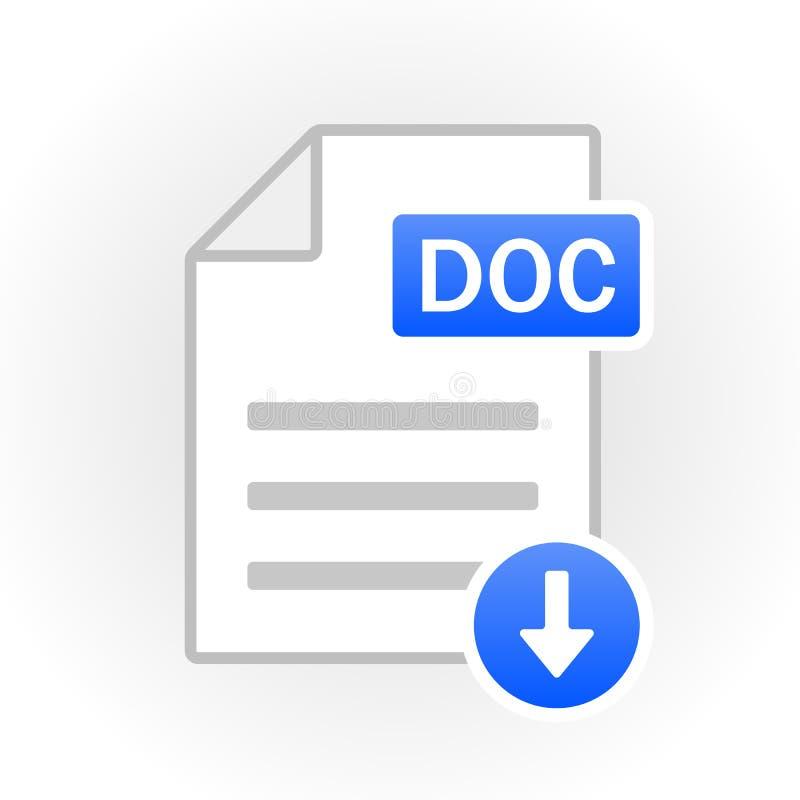 DOC ikona odizolowywająca Kartoteka format wektor ilustracja wektor