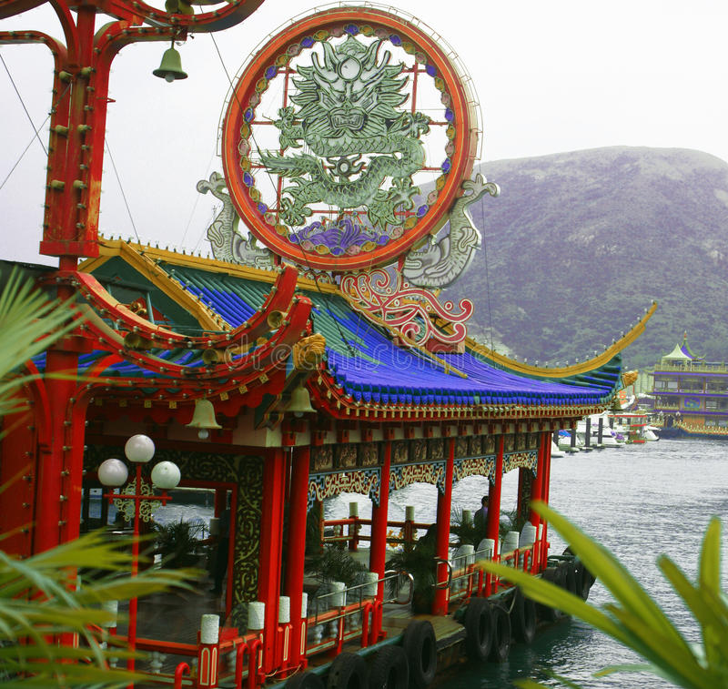 Doca colorida no porto de Hong Kong fotos de stock royalty free