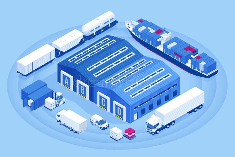 Doca de carga industrial isométrica do armazém Caminhão com semi os reboques para carregar a mercadoria Negócio de exportação da  ilustração royalty free