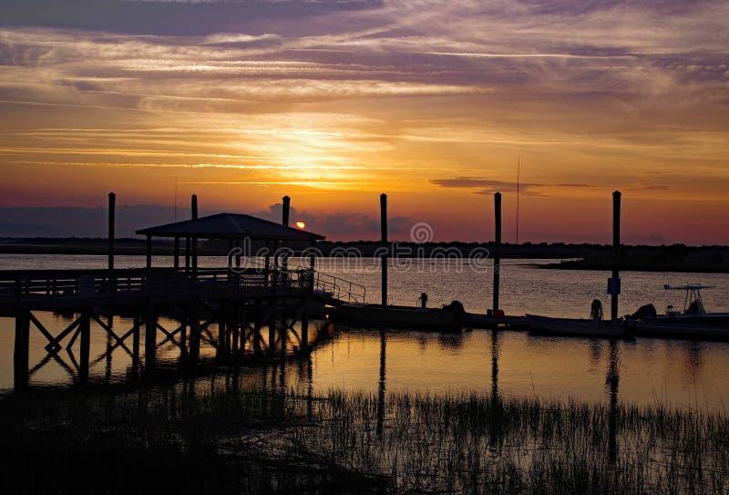 Doca de Charleston no por do sol fotos de stock royalty free