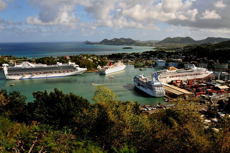 Doca do navio de cruzeiros, St Lucia fotografia de stock royalty free