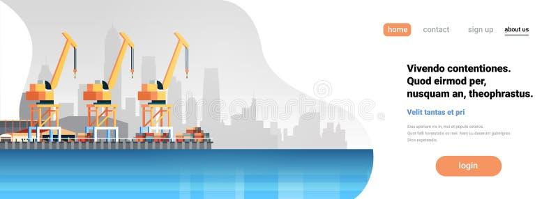 Doca industrial do transporte do conceito do transporte da entrega da água do guindaste da exportação da importação do recipiente ilustração do vetor