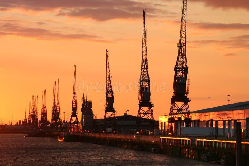Docas de Southampton no por do sol fotos de stock royalty free