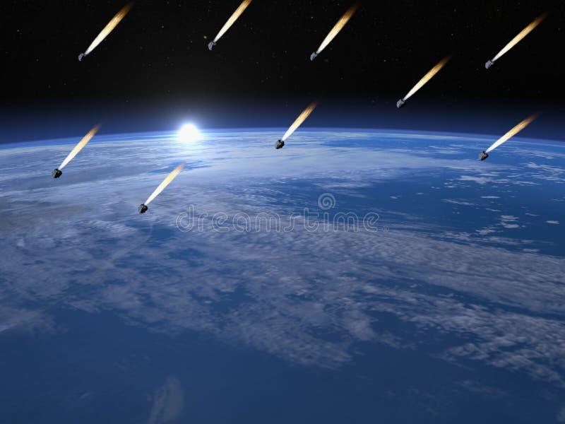 Doccia della meteorite - 3D rendono illustrazione vettoriale