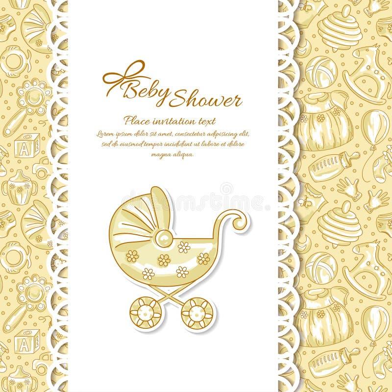 Doccia di bambino, cartolina d'auguri per il bambino royalty illustrazione gratis