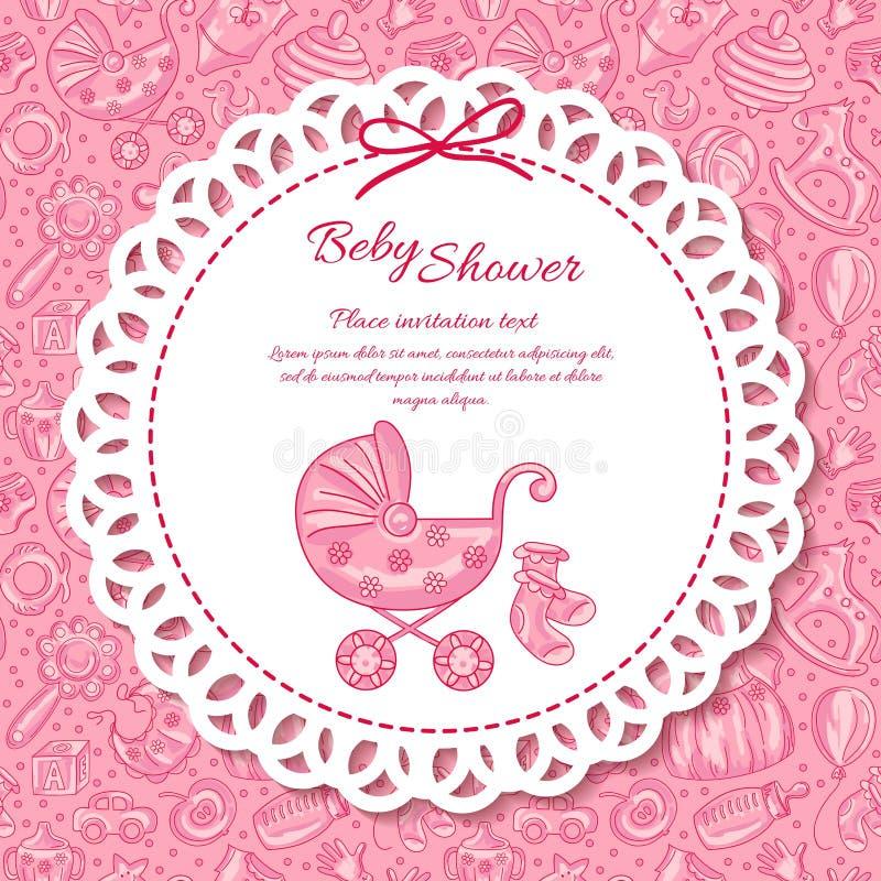 Doccia di bambino, cartolina d'auguri per la neonata illustrazione vettoriale