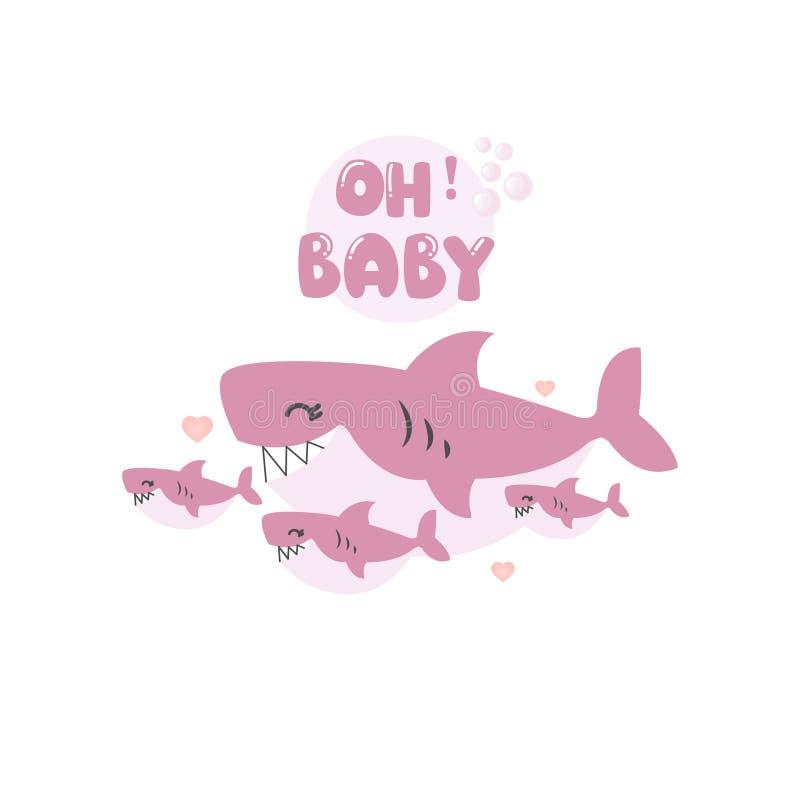 Doccia di bambino sotto il mare con il fumetto sveglio dello squalo illustrazione vettoriale