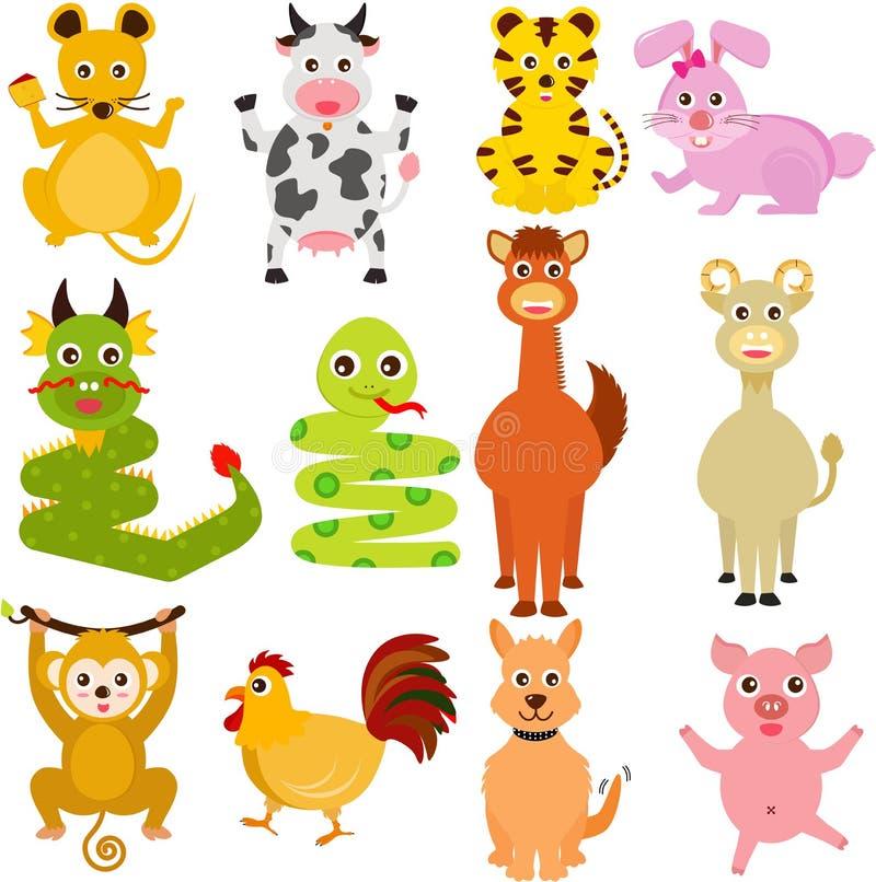 Doce animales chinos del zodiaco ilustración del vector