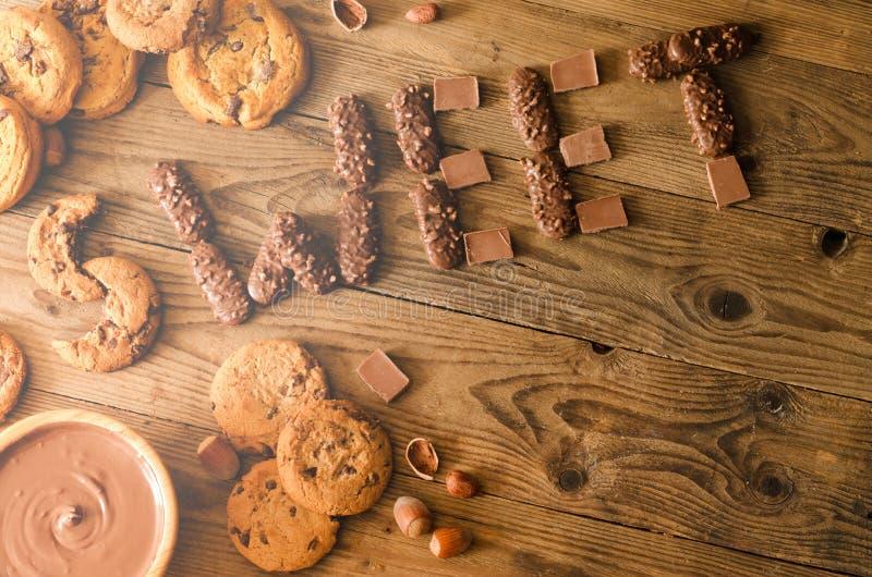 Doce, chocolate, cookies, decoração, vista superior imagens de stock