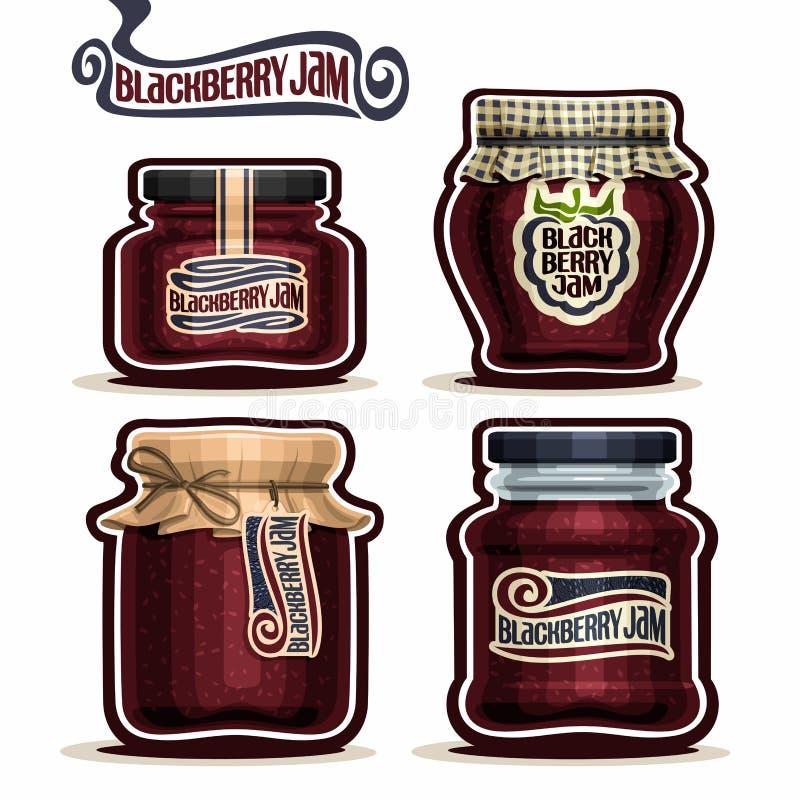 Doce de Blackberry do logotipo do vetor nos frascos de vidro ilustração royalty free