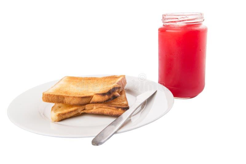Doce de morango e brinde do pão mim imagem de stock royalty free