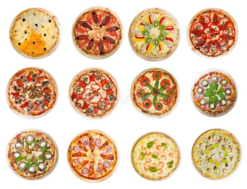 Doce diversas pizzas fotos de archivo libres de regalías