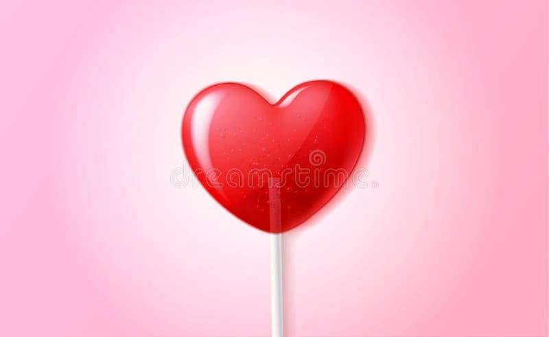 Doce do dia de são valentim dos doces 3d do pirulito do coração do vetor ilustração stock