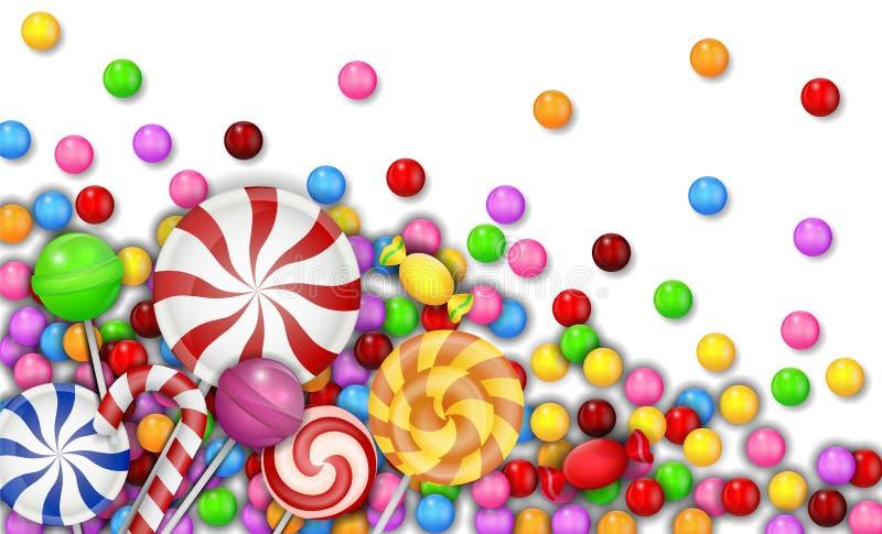 Doce dos doces com o pirulito no fundo branco ilustração do vetor