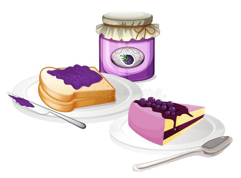 Doce e pão ilustração royalty free