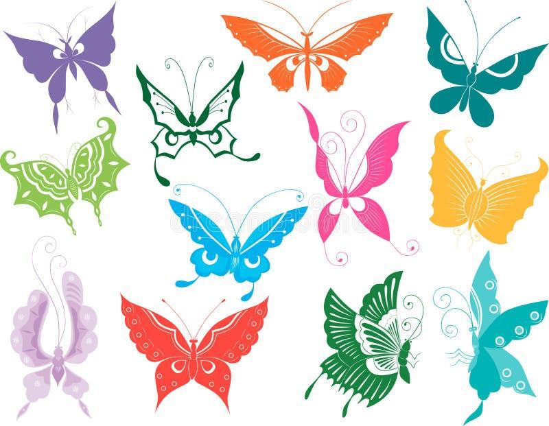 Doce mariposas stock de ilustración