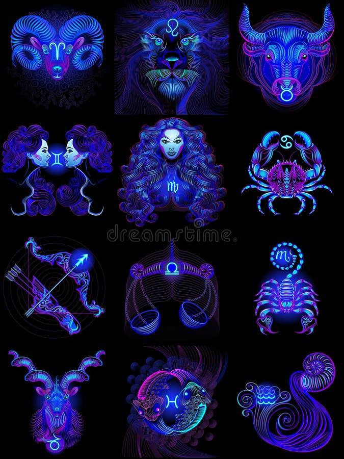 Doce muestras de neón azules del horóscopo Ejemplo del vector en un fondo negro foto de archivo libre de regalías
