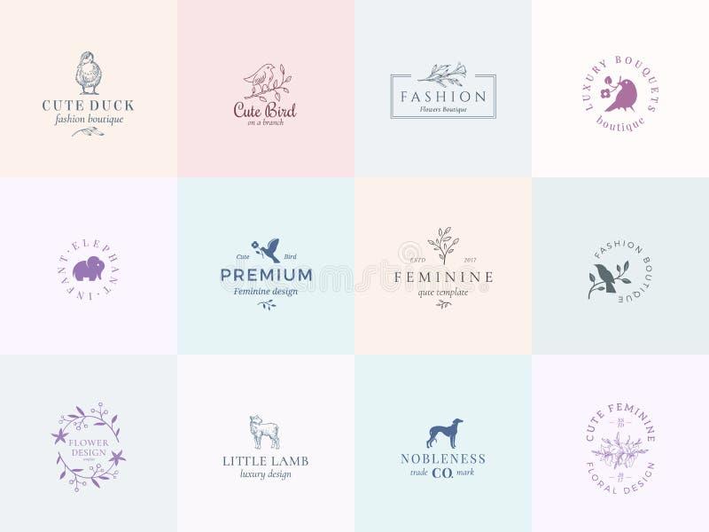 Doce muestras femeninas abstractas o Logo Templates Set del vector Ejemplo floral retro con tipografía con clase, pájaros ilustración del vector