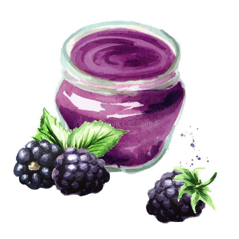 Doce orgânico do fruto Frasco de vidro do doce de fruta da amora-preta e das bagas frescas isolados no fundo branco ilustração stock