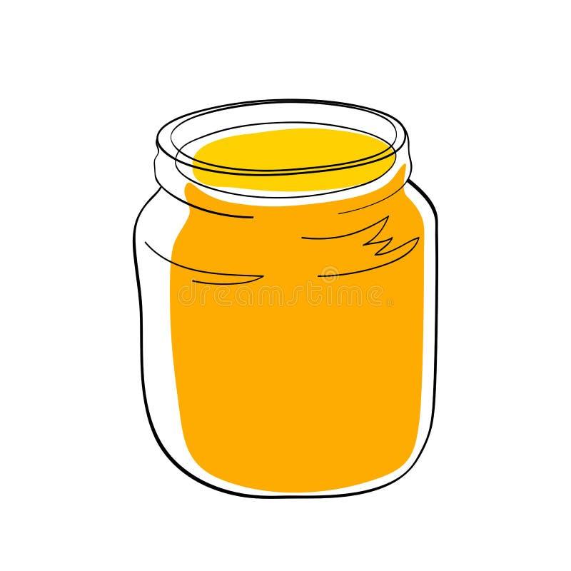 Doce ou mel amarelo no frasco de vidro ilustração royalty free